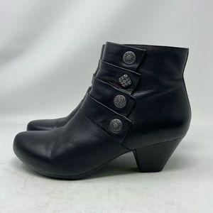 Dansko Baker Black Leather Heeled Ankle Boots